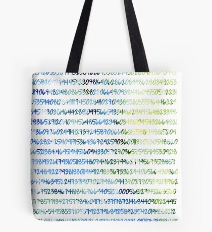 Digits of Pi (Green & Blue) Tote Bag