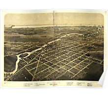 Panoramic Maps Monroe Monroe Co Michigan 1866 Poster