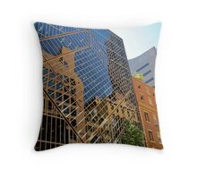 reflections of buildings Throw Pillow