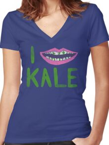 I Heart Kale Women's Fitted V-Neck T-Shirt