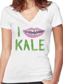 I Heart Kale Women's Fitted V-Neck T-Shirt