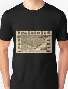 Panoramic Maps Tacoma Washington Unisex T-Shirt