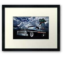65 Chevy C-10 Stopping at Roy's on Route 66 Framed Print