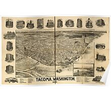 Panoramic Maps Tacoma Washington Poster