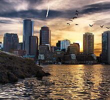 Boston Harbor at Sunset by LudaNayvelt