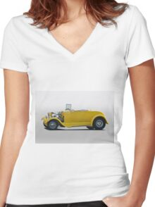 1930 Ford Model A Roadster Women's Fitted V-Neck T-Shirt