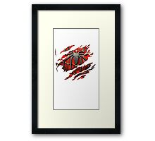Spiderman Ripped Shirt Framed Print