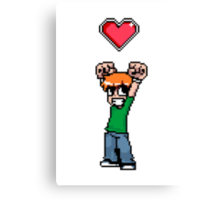 Did it all to win her (8bit) heart Canvas Print