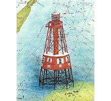 Carysfort Reef Lighthouse FL Nautical Chart Peek Photographic Print