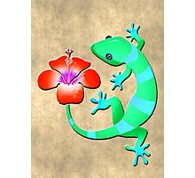 Blue and Green Jungle Lizard with Orange Hibiscus /BACKGROUND Photographic Print