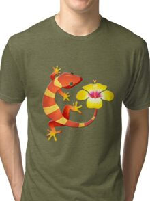 Orange and Yellow Jungle Lizard with Yellow Hibiscus/BACKGROUND Tri-blend T-Shirt