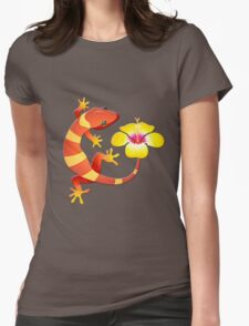Orange and Yellow Jungle Lizard with Yellow Hibiscus/BACKGROUND Womens Fitted T-Shirt