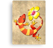 Orange and Yellow Jungle Lizard with Yellow Hibiscus/BACKGROUND Canvas Print