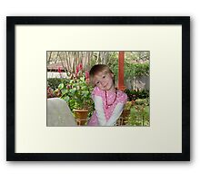 HAPPY GIRL ON PORCH Framed Print