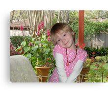 HAPPY GIRL ON PORCH Canvas Print