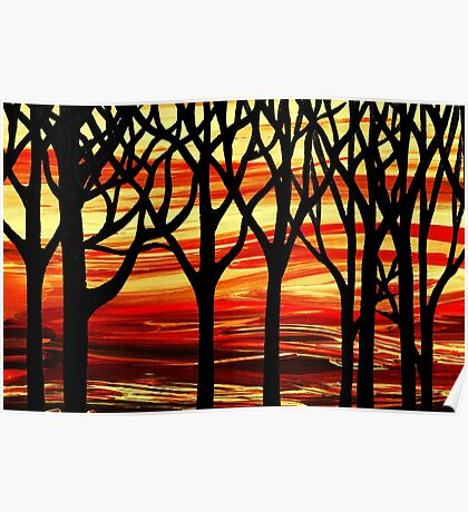 Abstract Forest Indian Summer Poster