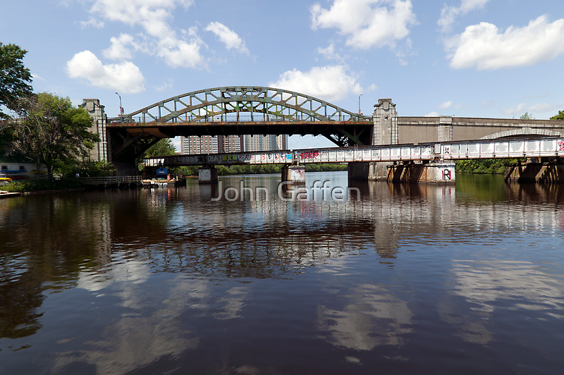 Boston University Bridge and Grand Junction Railroad Bridge  by John Gaffen