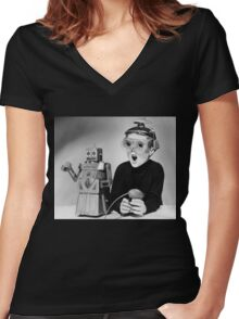 Space Age Kid Women's Fitted V-Neck T-Shirt