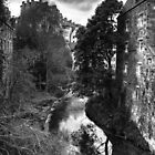 The Water of Leith at Dean Village B&W by Tom Gomez