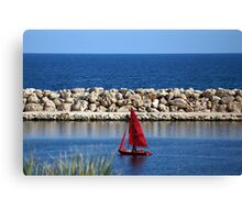 LIttle Red Yacht Canvas Print