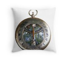 Brass Pocket Compass, Sundail Stock Image  Throw Pillow