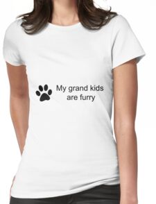 My Grand Kids Are Furry (Cat Paw)  Womens Fitted T-Shirt