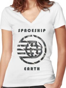 Spaceship Earth Pattern  Women's Fitted V-Neck T-Shirt