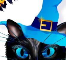 Happy Halloween-Blue Witch Kitty Sticker