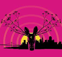Deer Flowers SF - Magenta by jhawkinsart