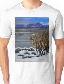 Winter night by the lake Unisex T-Shirt