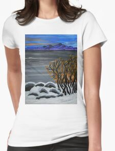 Winter night by the lake Womens Fitted T-Shirt