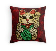 'Shiny Lucky Cat' Throw Pillow