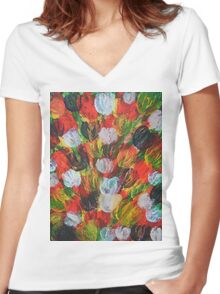 Explosion of Tulips Women's Fitted V-Neck T-Shirt