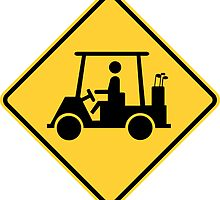 Golf Cart Crossing Yellow Diamond Warning Sign Die Cut Sticker by ukedward