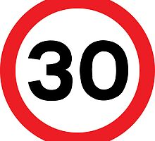 Speed Limit 30 Road Sign Die Cut Sticker by ukedward