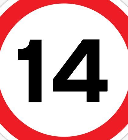 Speed Limit 14 Road Sign Sticker