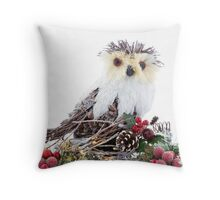 Christmas Ornaments Wooden Wise Owl Vintage Rustic  Throw Pillow