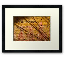 Made in Nepal on Wall Bhaktapur Framed Print