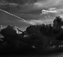 Contrails and clouds by Pirostitch