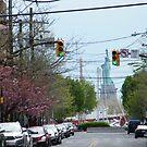 The Statue of Liberty Down the Street, Warren Street, Jersey City, New Jersey by lenspiro