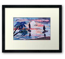 Sailing inthe bay,, watercolor Framed Print