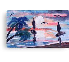 Sailing inthe bay,, watercolor Canvas Print