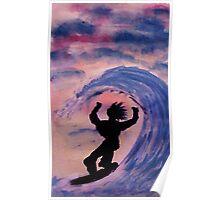 Surfer #2, watercolor Poster