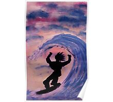 Surfer #2, watercolor Poster