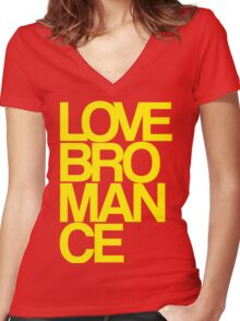 Love Bromance (yellow) Women's Fitted V-Neck T-Shirt