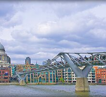 St Paul's Cathedral & Millennium Bridge by Fern Blacker