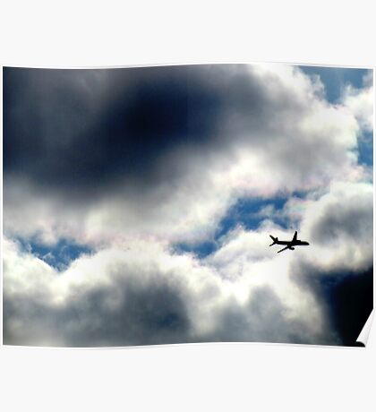 Flying through clouds, New York City Poster