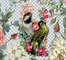 Vintage polka dots bird colorful flowers by Maria Fernandes