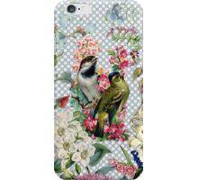Vintage polka dots bird colorful flowers iPhone Case/Skin