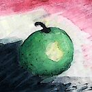 The green apple portrait, watercolor by Anna  Lewis